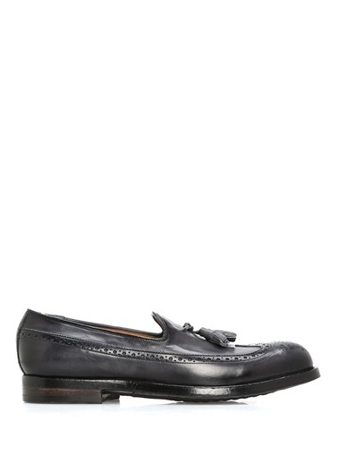Officine Creative %100 Deri Loafer Ayakkabı Lacivert